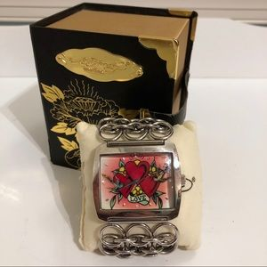 Ed Hardy Lynx 3 Way Love Watch with box